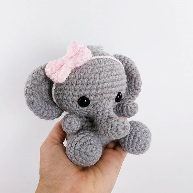 crochet elephant - amigurumi elephant - crochet elephant pattern available at etsy.com/shop/theresascrochetshop