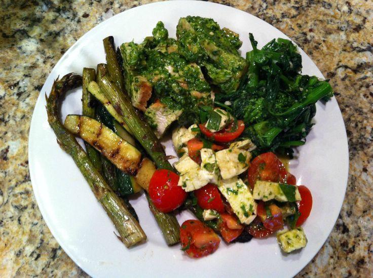 Pesto Chicken, tomato salad, grilled asparagus/zucchini/broccoli rabe