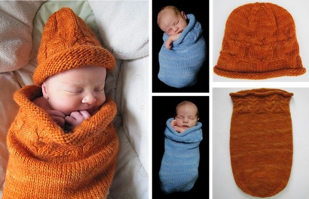 Owlie Knitted Sleep Sack And Hat [FREE Knitting Patterns]