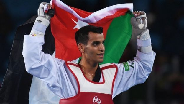 Ahmad Abughaush, winner of Jordan's first gold medal in the history of Olympic Games in men's tae-kwon-do (68 kg) - Rio de Janeiro