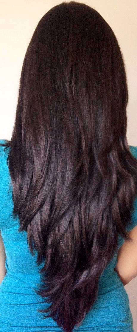 Super Long Layered Hair Back View