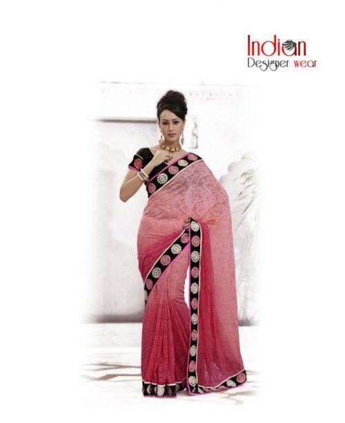 Merry Pink Net Saree