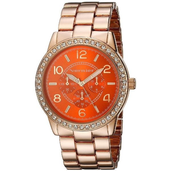 Vernier Women's Orange Dial Crystal Bezel Rose Goldtone Watch ($35) ❤ liked on Polyvore featuring jewelry, watches, vernier jewelry, rose gold tone jewelry, orange dial watches, dial watches and crystal stone jewelry