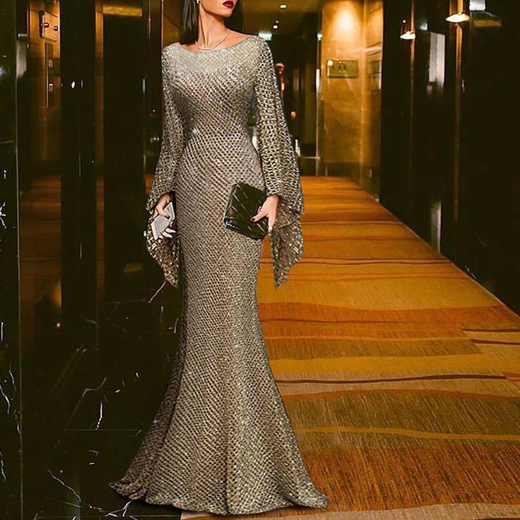 Elegant Silver Trumpet Sleeve Sexy Fishtail Evening Dress Maxi Dresses