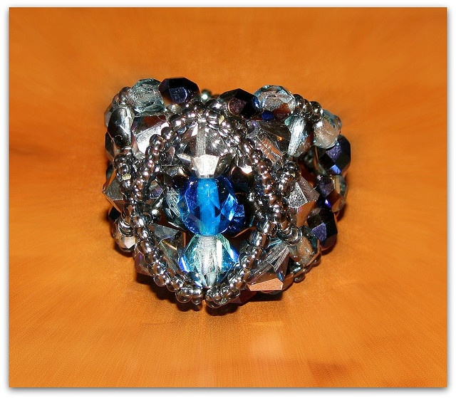 """Ring """"Maly"""" in vintage grey and ocean blue by EvaBeading, via Flickr"""