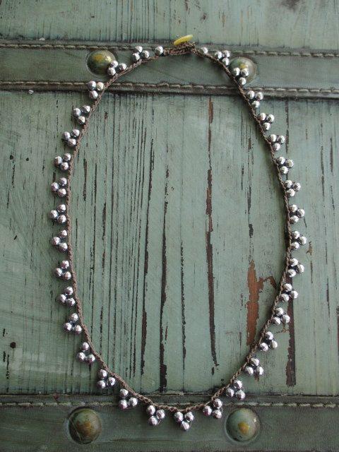 Beachy crochet necklace Sand & Sea aqua turquoise by slashKnots