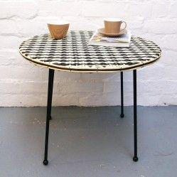 Vintage woven topped table www.vintageactually.co.uk