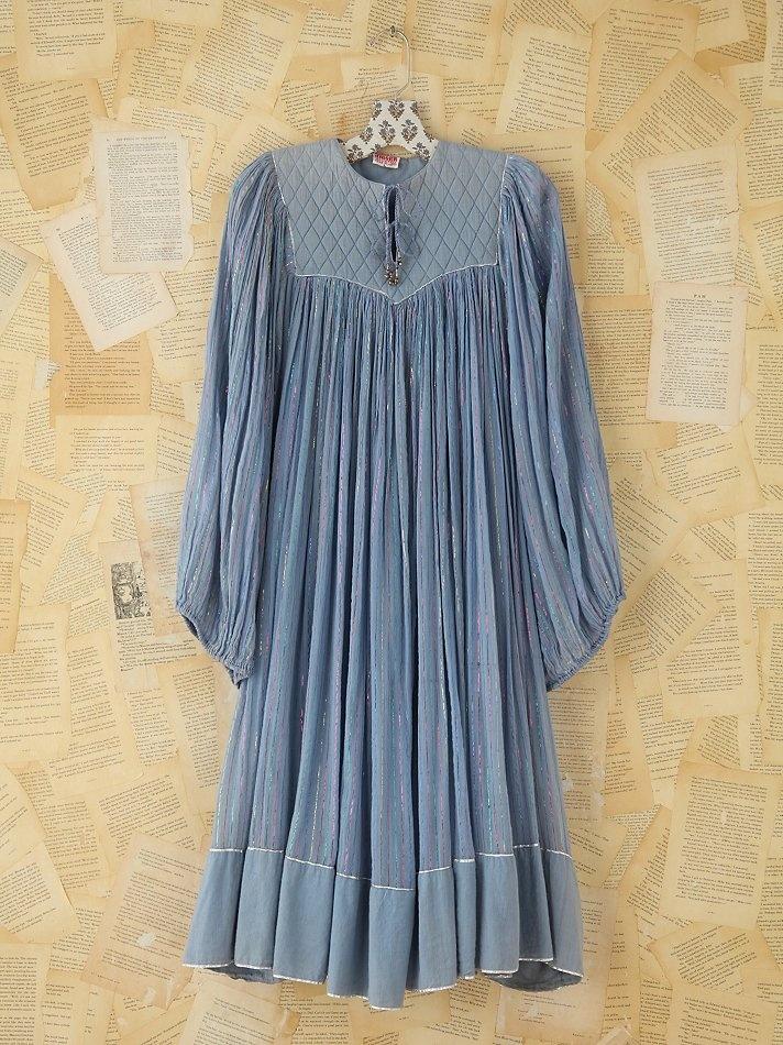 Free People Vintage Gauzy Metallic Striped Dress