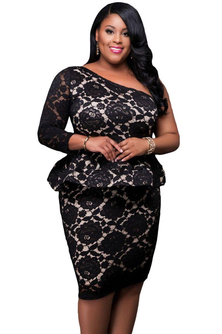 ==> [Free Shipping] Buy Best Black Lace Illusion Curvaceous One Shoulder Peplum Dress 2017 modest plus size women party Large XXXL Clothes Vestido de Renda Online with LOWEST Price   32820867702