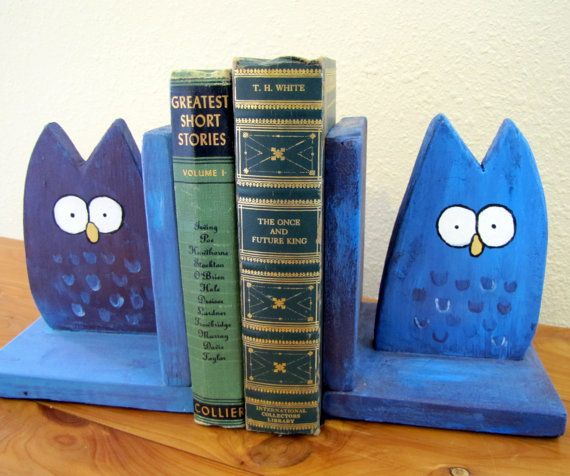 Owl Bookends Whimsical Woodland Childrens Decor Book by andralynn, $40.00