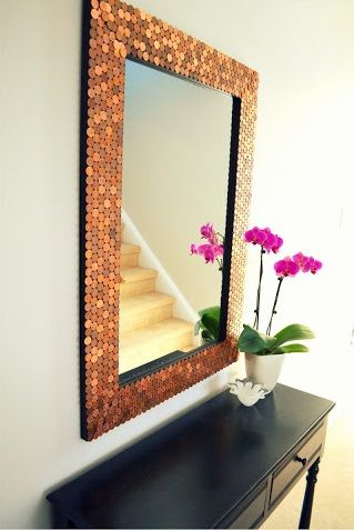 Home Remodeling Ideas with Pennies I've seen floors, tables, even walls done in pennies; but I really love this mirror.