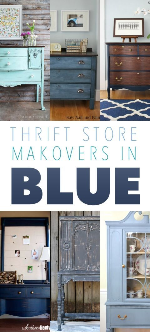 Blue painted furniture projects. Thrift Store Makeover in Blue | Makeover | DIY | Project
