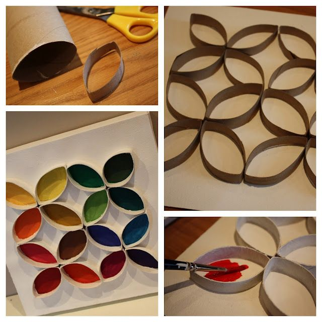 Toilet Roll Art, cool ideas for color theory lessons