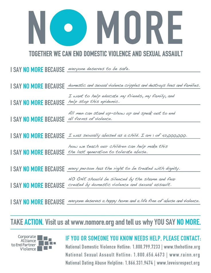 Join us in saying NO MORE.  Learn more at www.nomore.org and www.caepv.org
