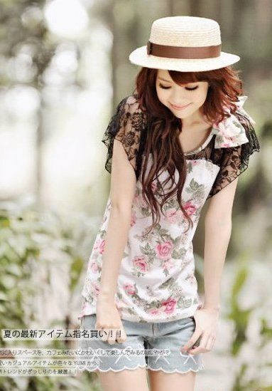cute japanese clothes | Beautiful and cute Japanese T-shirt with flower print looks more ...