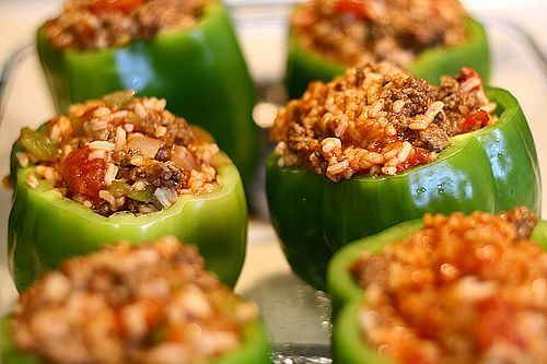 i've been dying to make stuffed peppers with veggie ground fake meat