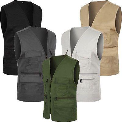 Men Pocket Travel Fishing Photography Waistcoat Safari Cargo Outdoor Vest Coat