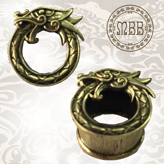 Ornate Dragon Antiqued Brass Tunnels Tribal by MyBrassBoutique