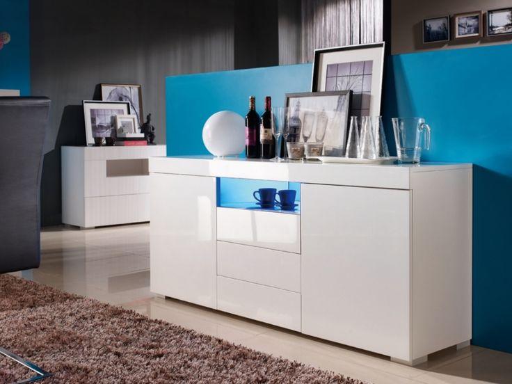 Buffet MERCURE - MDF laqué blanc - LEDs - 2 portes & 3 tiroirs