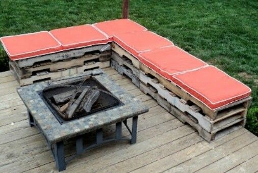 Wooden pallet seating for bon fires & outdoor parties