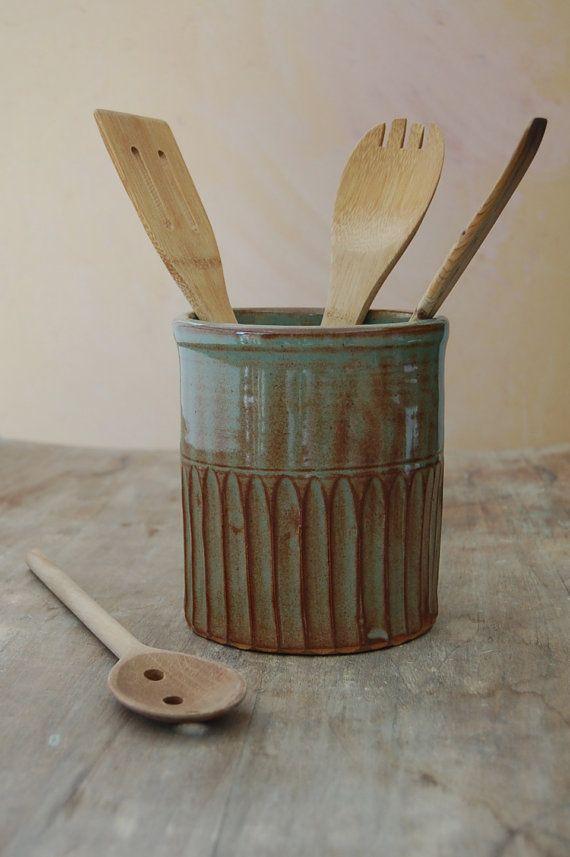 Stoneware Utensil Crock by Jennifer Burke Pottery