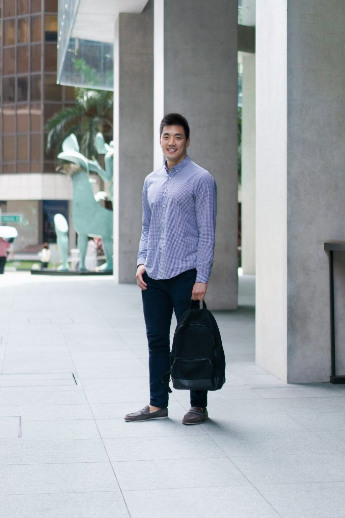 SHENTONISTA: The Leap. Jeff, Technology. Top from ZARA, Pants from Uniqlo, Shoes from Topman, Bag from Everlane. #shentonista #theuniform #singapore #fashion #streetystyle #style #ootd #sgootd #ootdsg #wiwt #popular #people #male #female #womenswear #menswear #sgstyle #cbd #ZARA #Uniqlo #Topman #Everlane