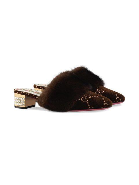 7b2f9a077608 Gucci GG Velvet Slide With Mink Fur