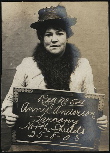 Name: Annie Anderson Arrested for: Larceny Arrested at: North Shields Police Station Arrested on; 25th August 1903  Tyne and Wear Archives ref: DX1388-1-31-Annie Anderson  These images are a selection from an album of photographs of prisoners brought before the North Shields Police Court between 1902 and 1916 in the collection of Tyne & Wear Archives (TWA ref DX1388/1).  Copyright) We're happy for you to share this digital image within the spirit of The Commons. Please cite 'Tyne & Wear…