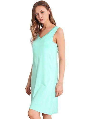 47ada5ee51 GYS Womens Bamboo Viscose Sleeveless V Neck Nightgown  nightgown  sleepwear