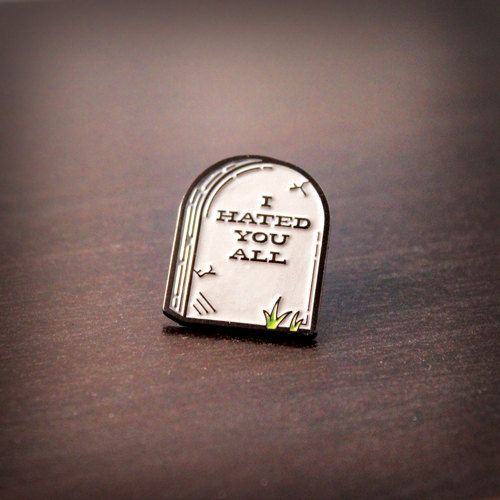 Rest in Hate Enamel pin  Comes with metal backing clasp.  1 x .75  *SHIPPING* Items will ship within 2-3 days of purchase. All items are shipped USPS