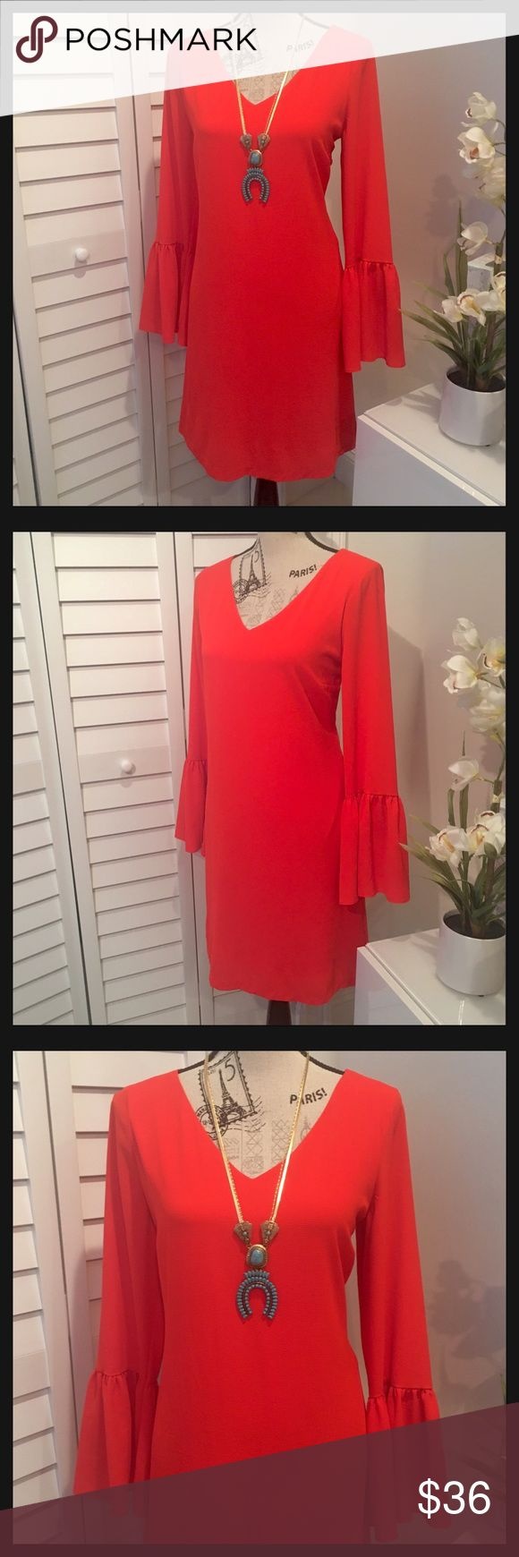 NWT Super Cute Long Ruffle Sleeves Fiery Red Dress NWT Super Cute Long Sleeves Fiery Red Mini Dress in a Loose Fit, Perfect Summer Nights🌞 Worthington Dresses Mini