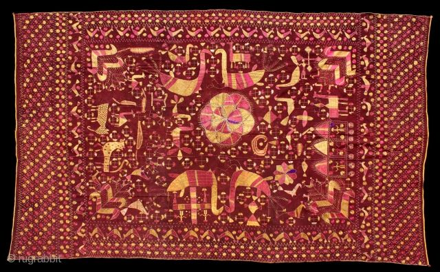 Sainchi Phulkari Are Mostly Figurative Pieces Narrating The Life In The Villages Of East Punjab India C 1900 Local Animals Like Goats Co Big Cats Punjab Cow