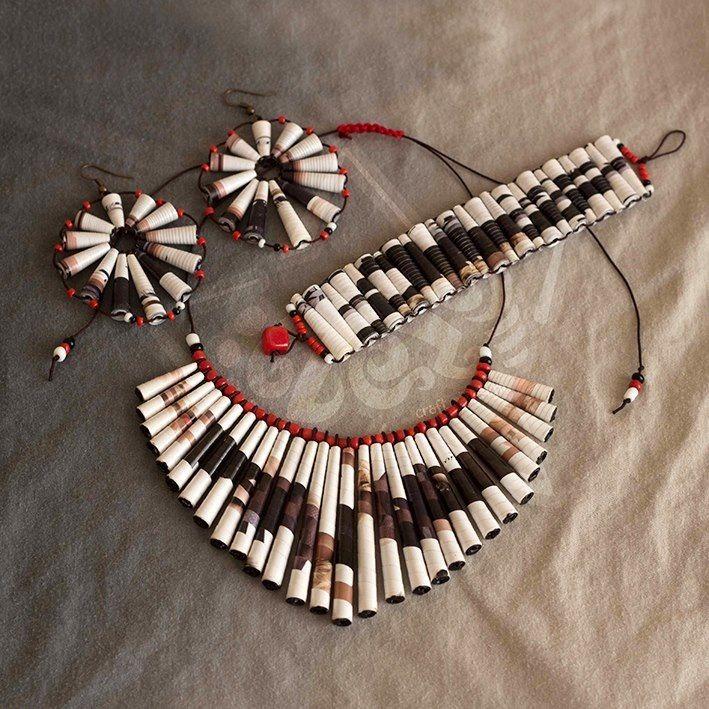 ZezeCraft&Design Ethnic Collection Set 01 (ZCDECS01) #recycle #jewelleryset #paperbead #zezecraftdesign