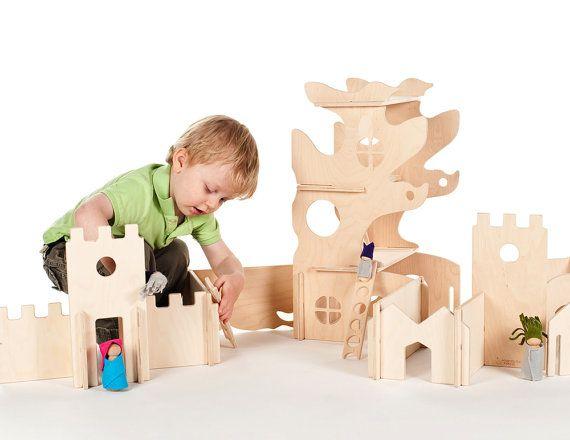 Casa sull'albero Waldorf e pareti modulari di costruzione, legno giocattoli Montessori on Etsy, 118,24€