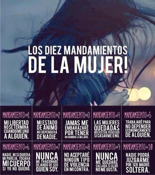 #lecciones de vida, mandamientos de una mujer