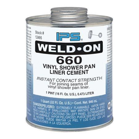 IPS 10835 Weld-On Vinyl Shower Pan Liner Cement  Size: 1 Pint  For shower pan liners  Low VOC solvent