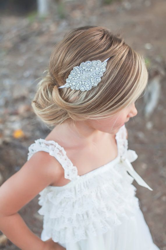 wedding ideas cute low bun hairstyle for girl with rhinestone headband flowergirl hairstyles pinterest flower girl hairstyles girl hairstyles and