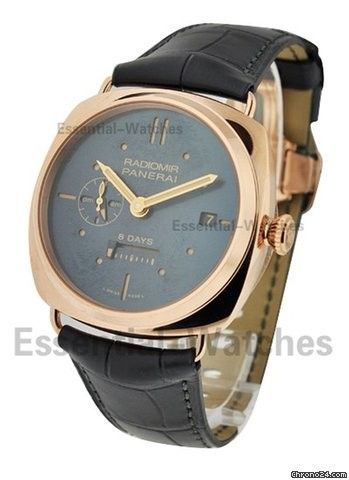 Panerai Radiomir PAM 538 8 Day GMT Oro Rosso - On Black Crocodile Strap with Blue Dial