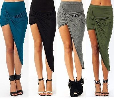SEXY WARP BANDED WAIST DRAPED CUT OUT ASYMMETRICAL HI LOW MAXI SKIRT S M L