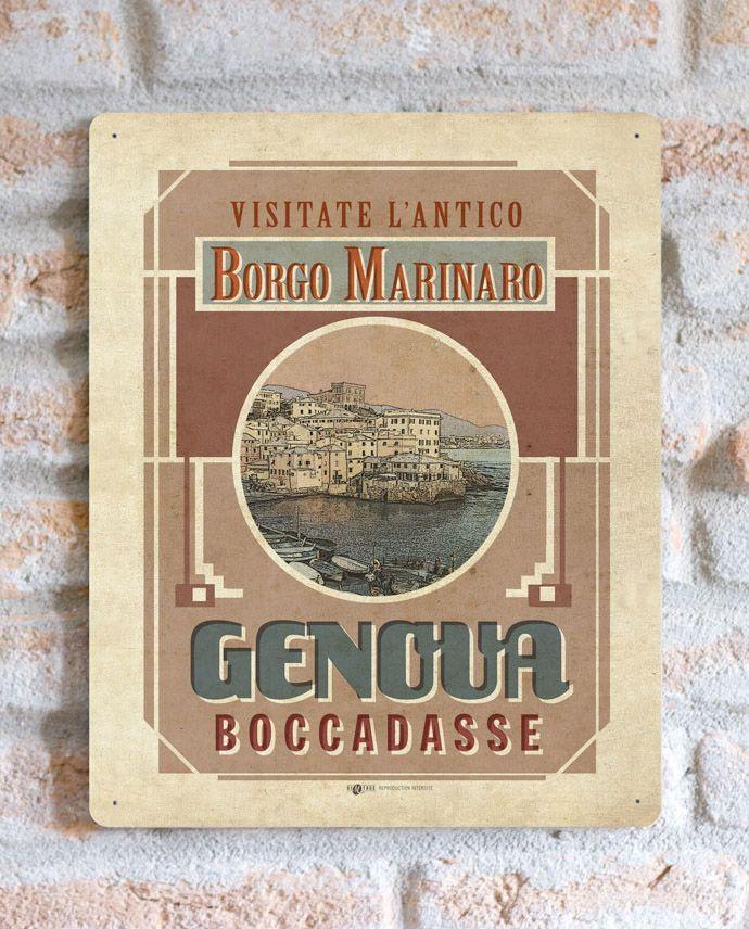 Genova Boccadasse Borgo Marinaro | TARGA | Vimages - Immagini Originali in stile Vintage