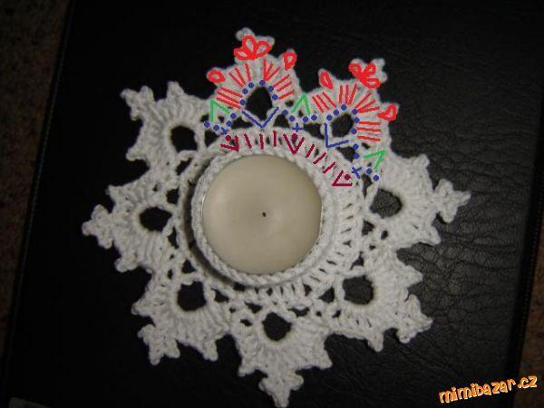 HÁČKOVÁNÍ - Svícen ve tvaru vločky - na čajovou svíčku