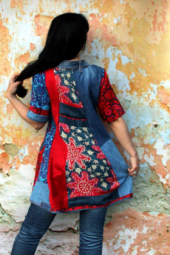 Recycled denim jeans and colorful sateen hippie boho by jamfashion