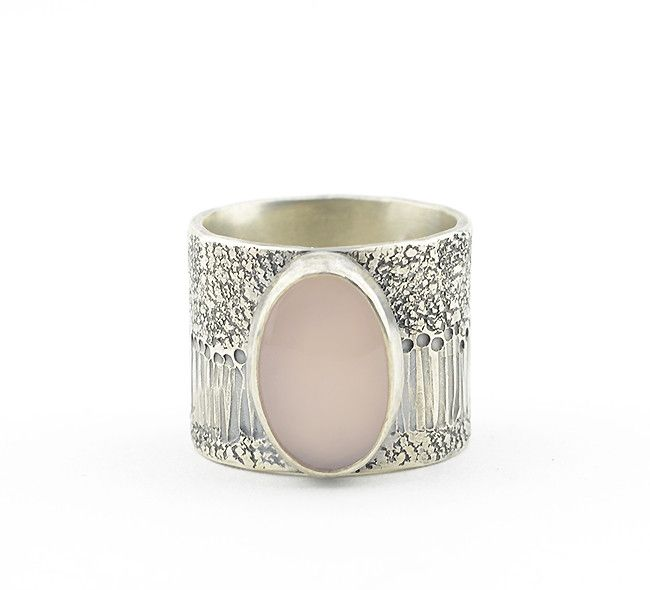 MEADOWS Pink Chalcedony Ring - This made-to-order (in your requested ring size) MEADOWS ring is made by hand with sterling silver and a soft pink/mauve chalcedony cabochon - cut and polished by hand for you