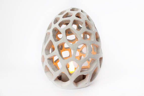 Décorations oeufs de Pâques gros sculpté bougeoirs gris béton œuf d'autruche poulet OIE chasse Pastel couleur bébé douche cadeau printemps heureux