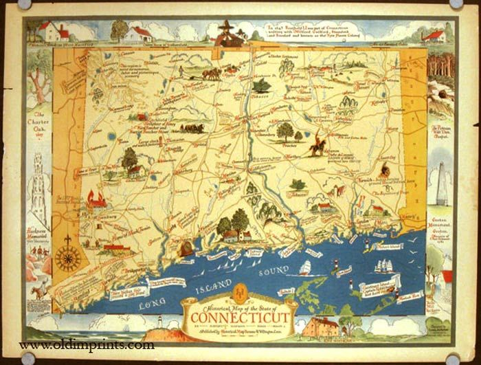 Historical Map Of The State Of Connecticut Connecticut