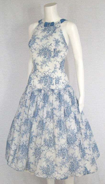 VINTAGE 1950s PRINTED DROPWAIST SUMMER DRESS 3