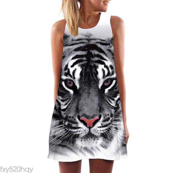 Casual Women Sleeveless Tiger Print Loose Mini Dress Street Summer T-Shirt