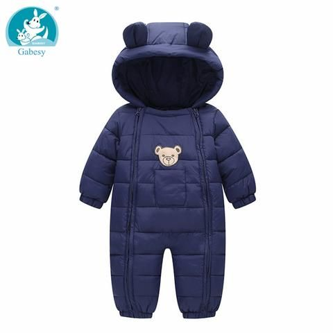 6aab0da94 new born Baby rompers girl Winter Snow Wear Thick Warm Clothes ...