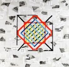 Laura Zeni,  Omaggio a Casabella, serie Geometrie ri-viste, 2016,  acrilico e collage su tela, cm 100x100