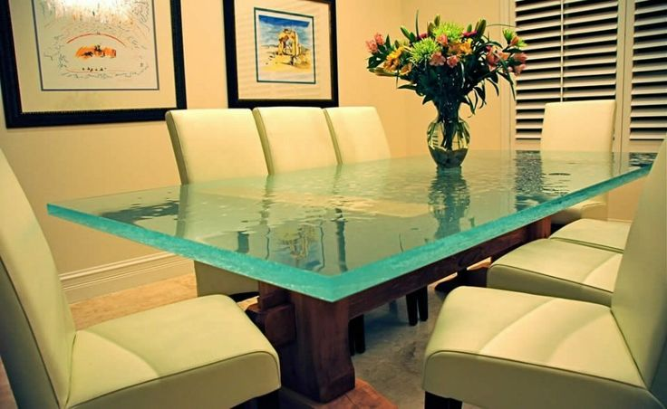 Cozy Contemporary Florida Home Dining Table Design With Brossa Crystal Polished Glass  LOVE THIS TABLE!!